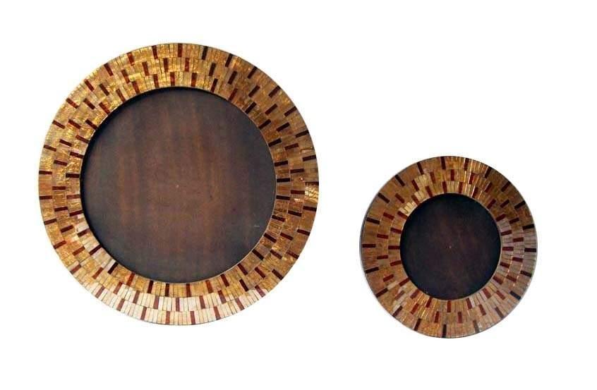 Mosaic Round Wooden Mirror Frame Set