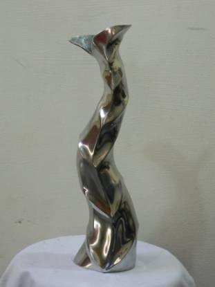 Tall Leaf Designed Metal Flower Vase
