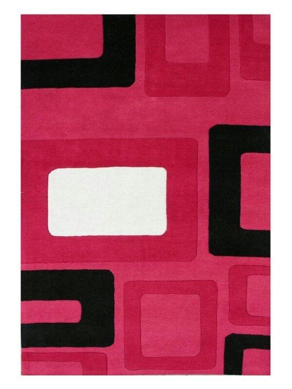 Hand Tufted Woolen Pink Carpet,  Size- 8 X 12