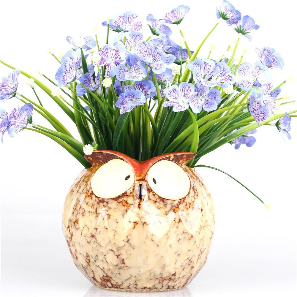 12 Cm Decorative Owl Shape Ceramic Pot