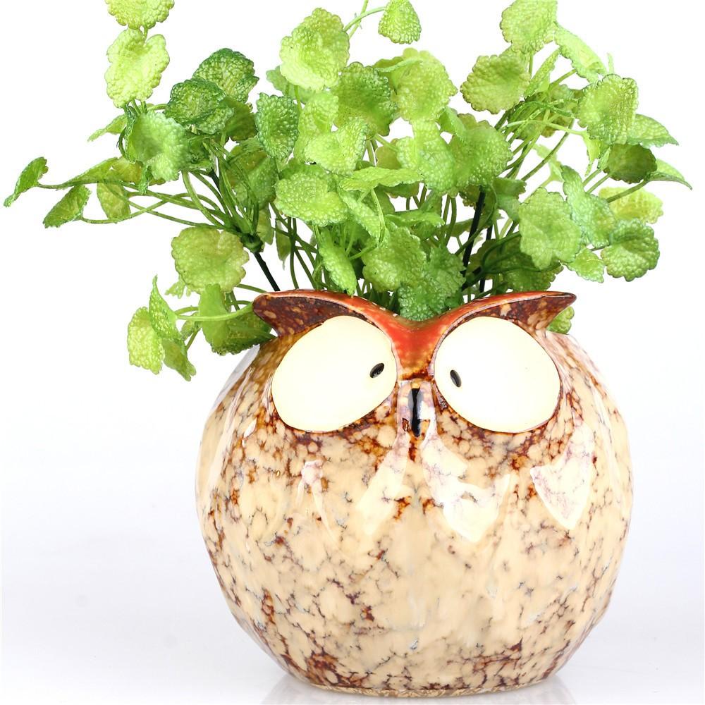 14 Cm Decorative Owl Shape Ceramic Pot