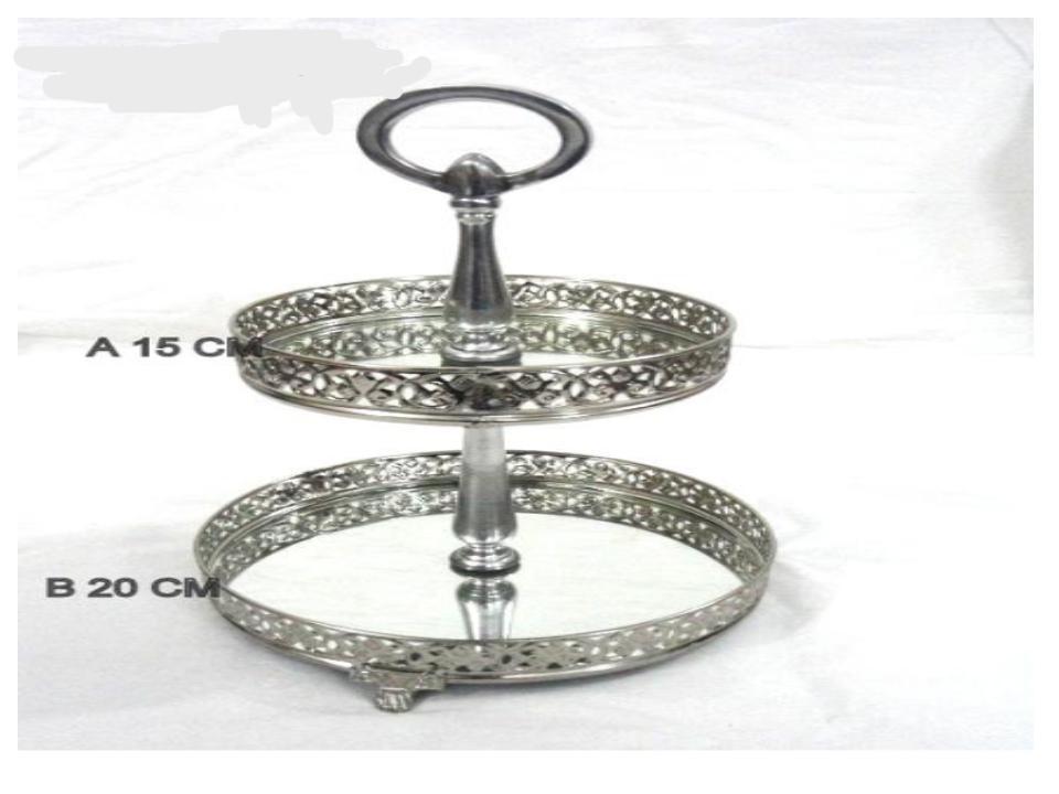 2 set risers decorative  design nickel tray