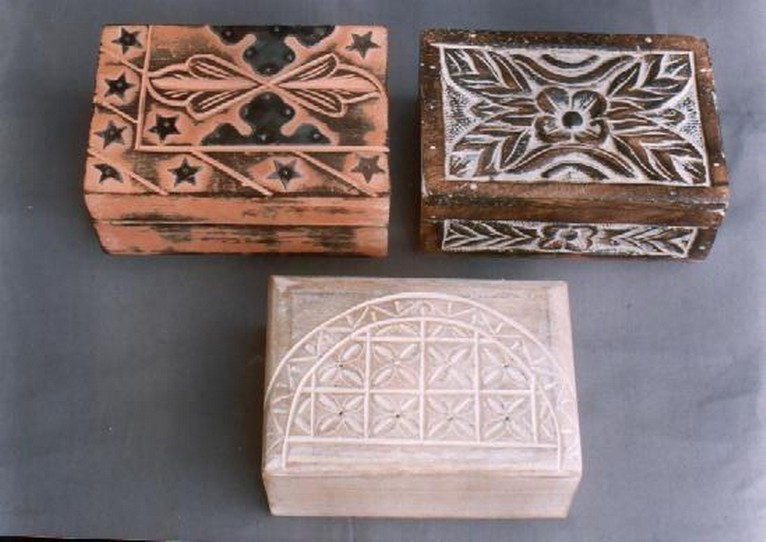 """Three Decorative Floral Work With Different Washed(4''x 6"""")"""