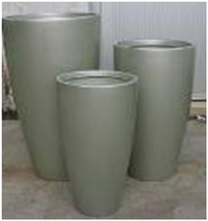 Gray Round 25 cm Fiberglass Planter