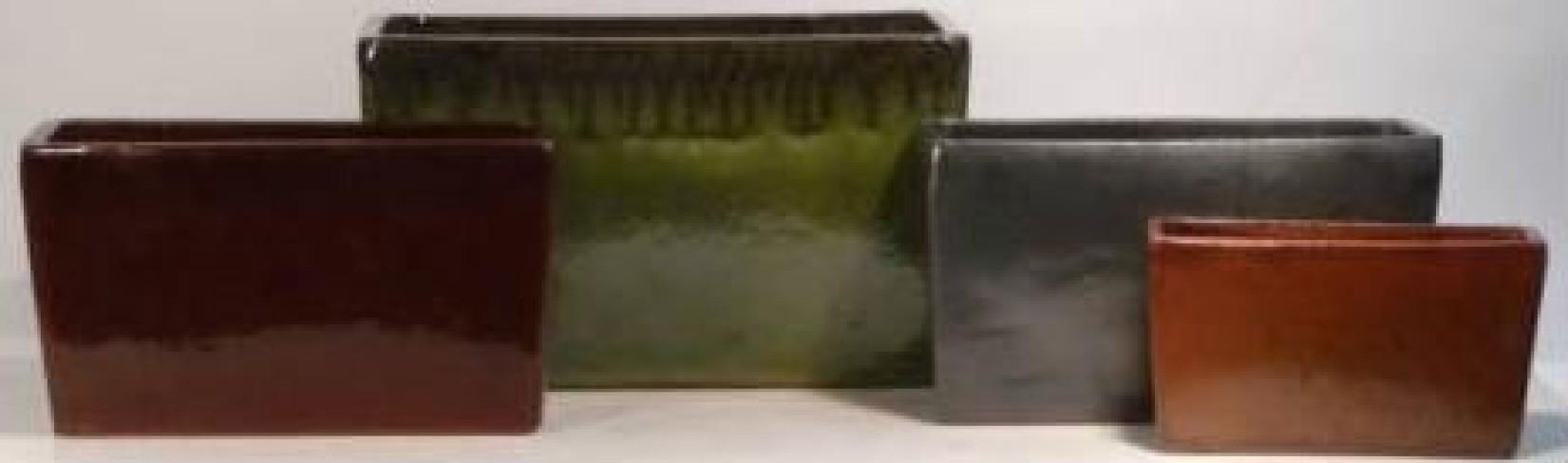 Green Rectangle Shape Ceramic Planter