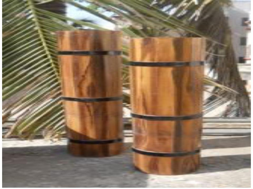 Wooden finish Modern Fiberglass Vases