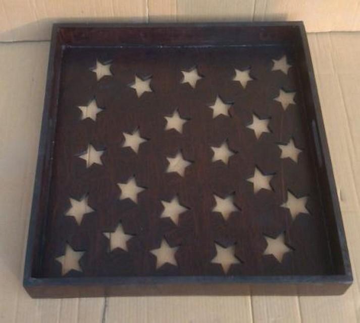 20 x 20 x 2.25'' Decorative Stars Design Wooden Tray