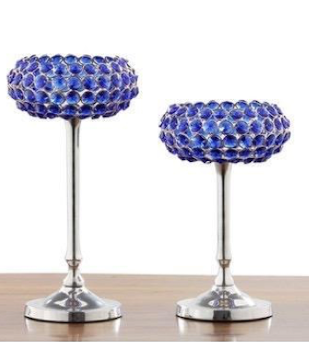 Crystal Blue colour Candle holder