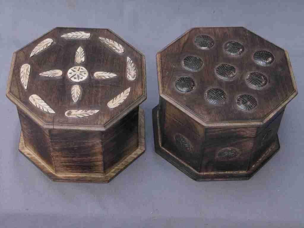 "6'' x 6'' x 5"" Antique Wooden Decorative Octagonal Box"