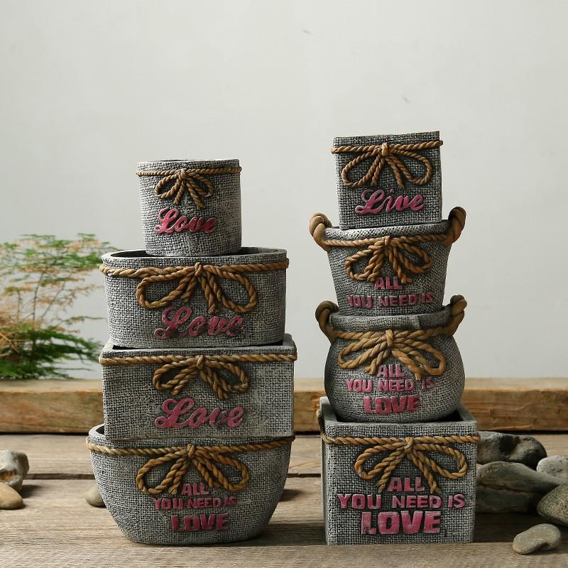 Antique Decorative Ceramic Planter Set Of 8 Pcs