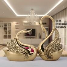 Antique resin couples swan festive decor (B)