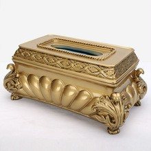 Antique resin tissue box