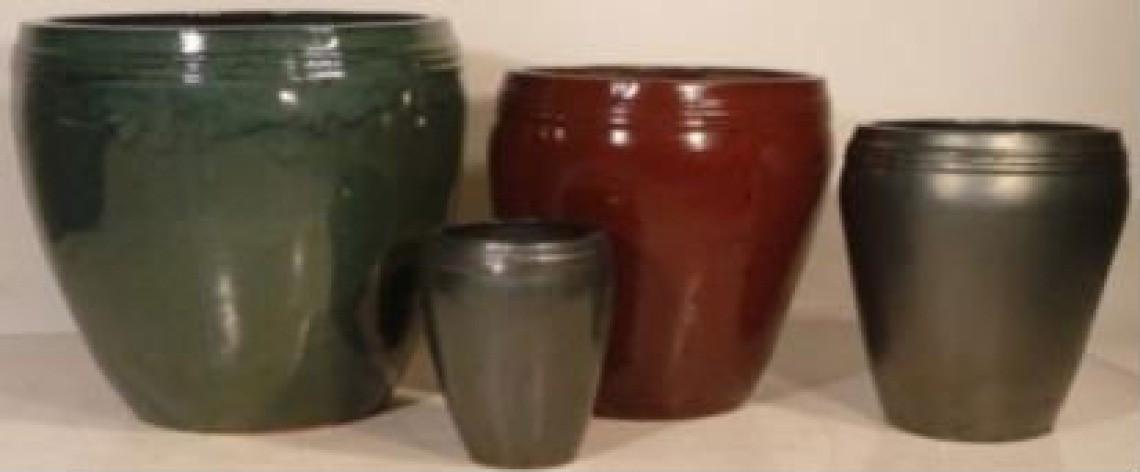 High Quality Dark Red Glazed Ceramic Pot