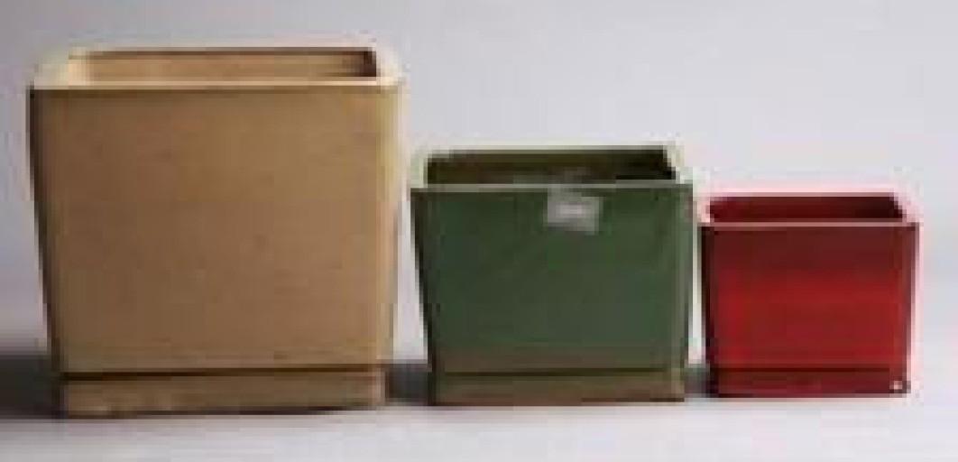 Beige Square Shape Ceramic Glazed Pot