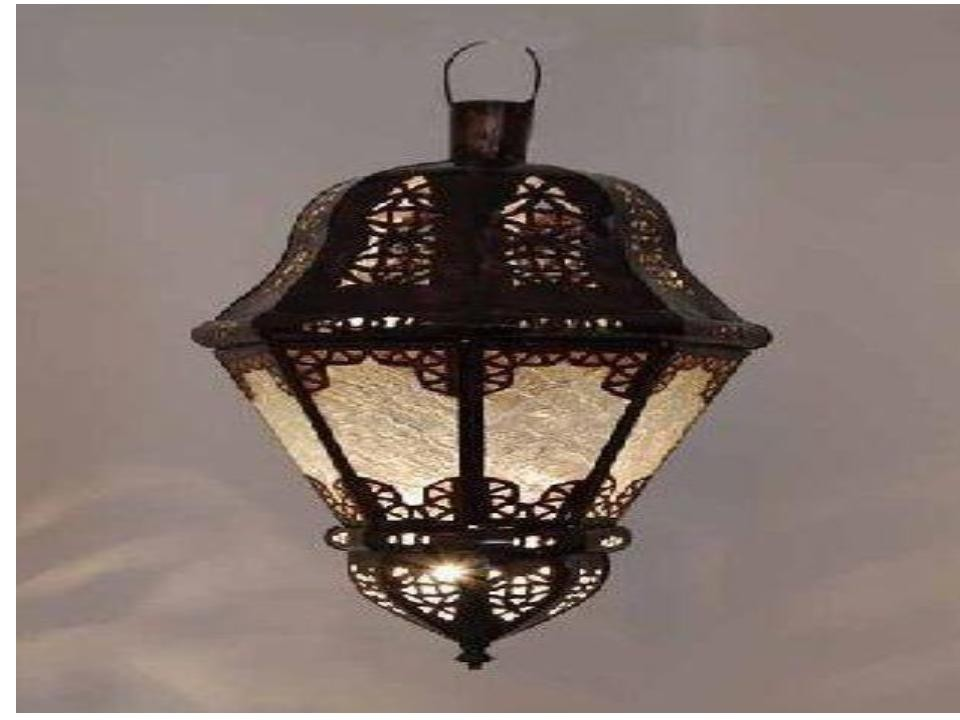 bell shape net design Iron with glass lantern size-24""