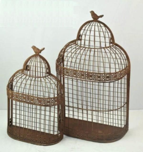Set Of 2 Brown Metal Bird Cage Design Wall Shelf