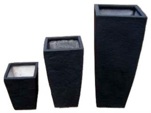 Black 15.5 Inch Height Fiberglass Planter