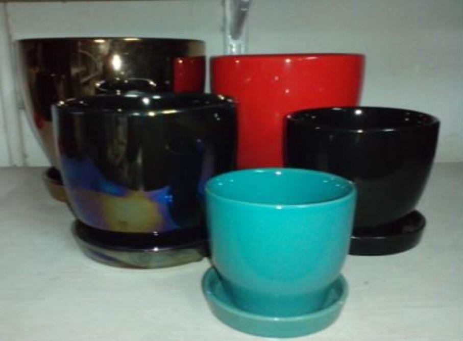 Black Color Ceramic Pot With Saucer