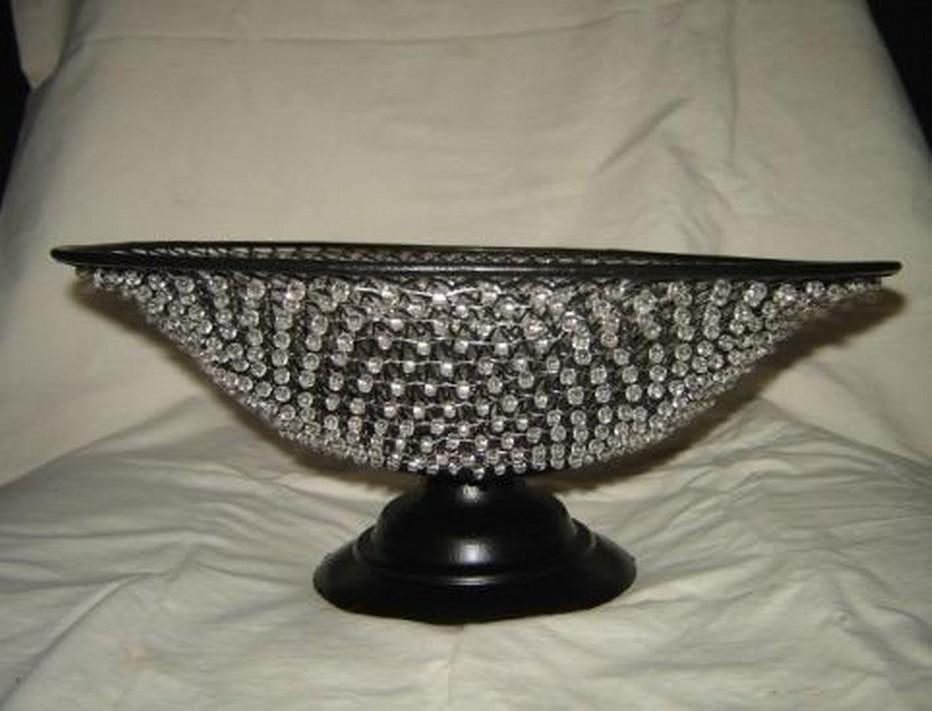 "Beaded Metal Weave Decorative Black Basket Bowl (10'' x 7"")"