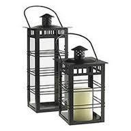 Black P/C Finish Iron & Glass Candle Lantern,   Size - 12 X 12 X 30 CM