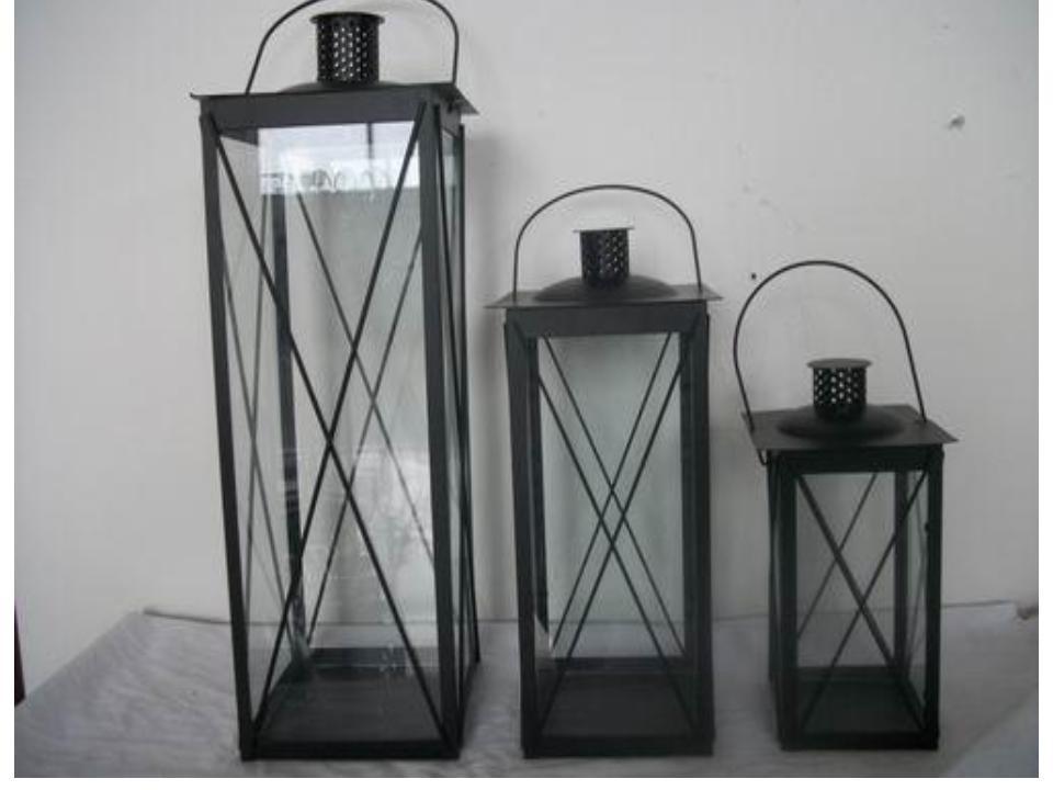 "Black rectangular Iron with glass lantern  size-12"""