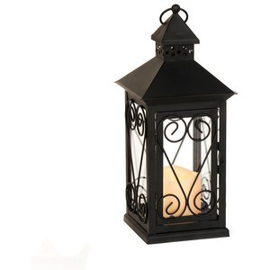 Black Scrollwork LED Lantern