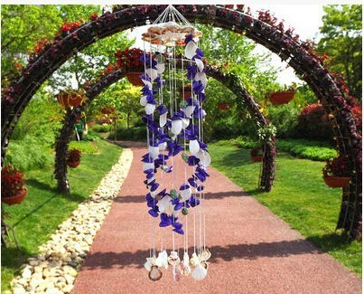 Blue With White Natural Seashell Windchime