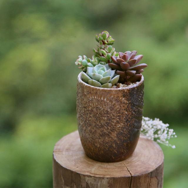 Brown Handmade Embossed Ceramic Planter
