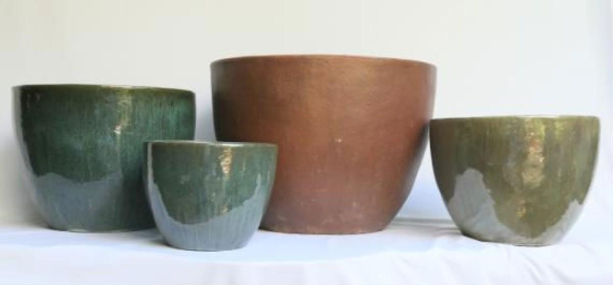 Moss Green Ht 50cm Ceramic Planter