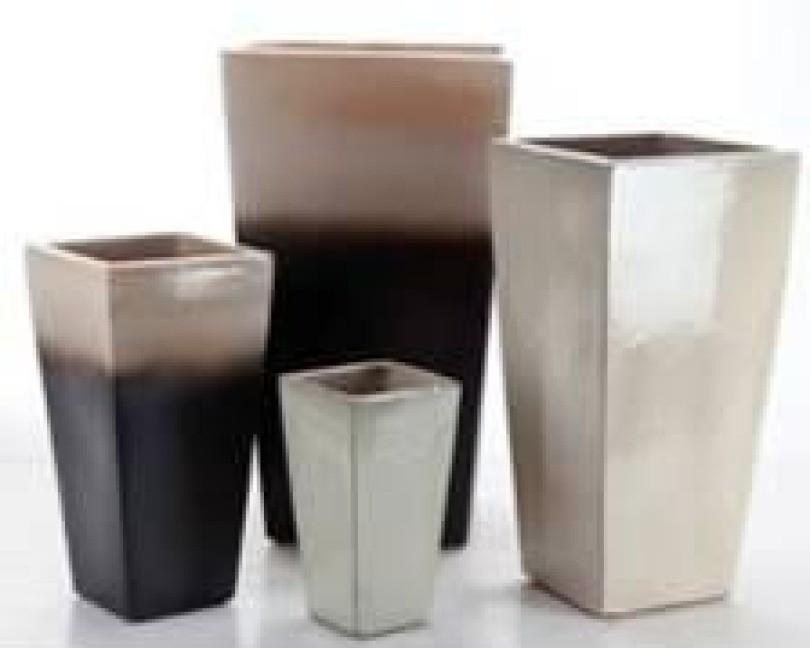 31'' Matte Black With Cream Ceramic Planter