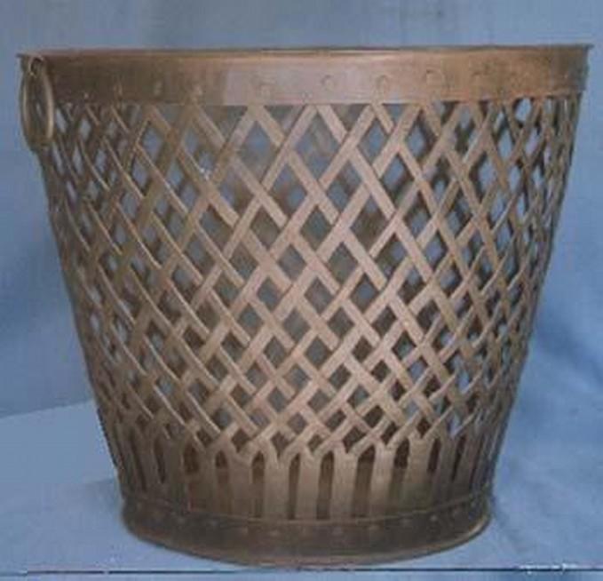 Round Bucket Style Copper Metal Basket Weave Storage Container