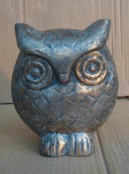 "6""Copper Shiny Metal Decorative Owl Statue"