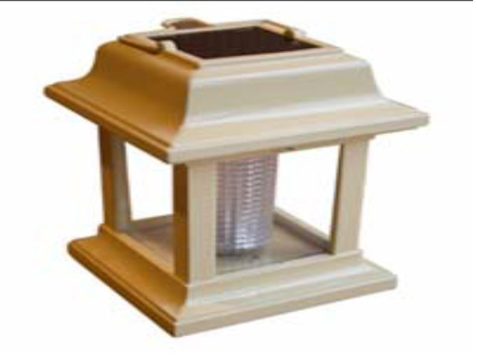Cream colored portable solar light