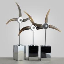 Creative fashion alloy ox horn windmill decor (C)