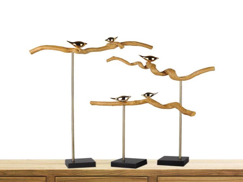 Creative handmade natural metal bird home decor (B)