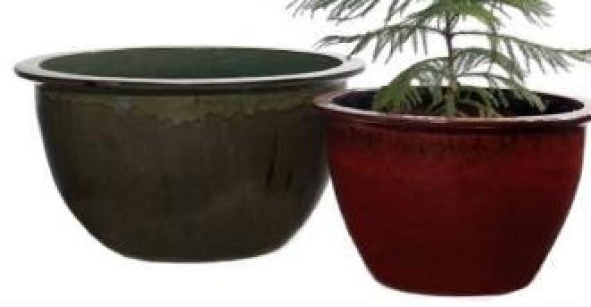 Green Durable 16'' Glazed Ceramic Planter