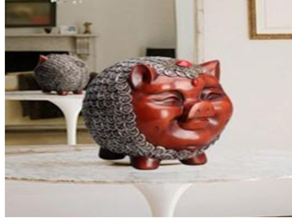 Cute pig sculpture money pot (B)