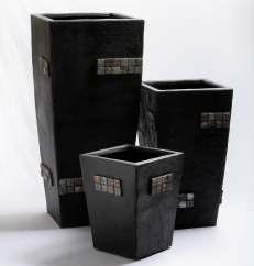Elegance Black Mosaic 15.5 Inch Fiberglass Planter