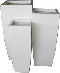 Shiny White Small Fiberglass Planter