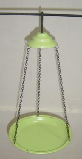 Light Green Hanging Metal Bird Bath With Chain