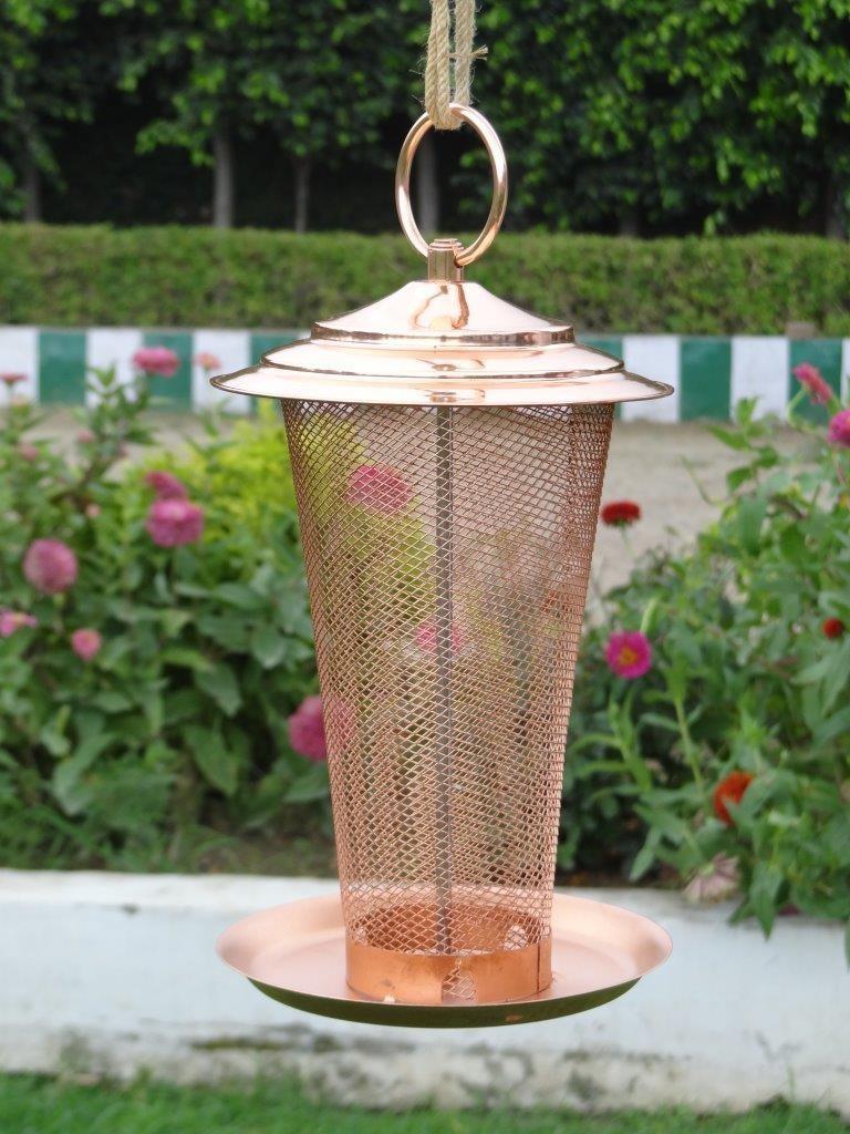 Copper Color Designer Metal Bird Feeder