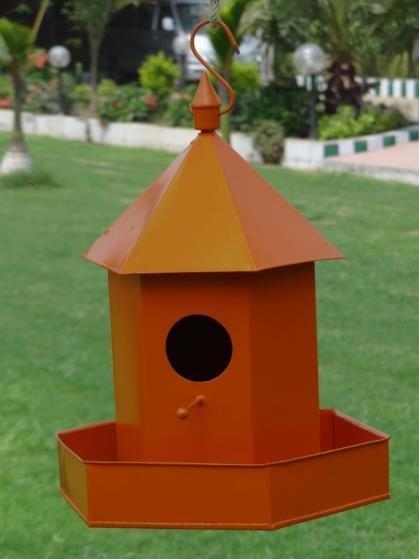 Orange Hanging  Metal Bird House
