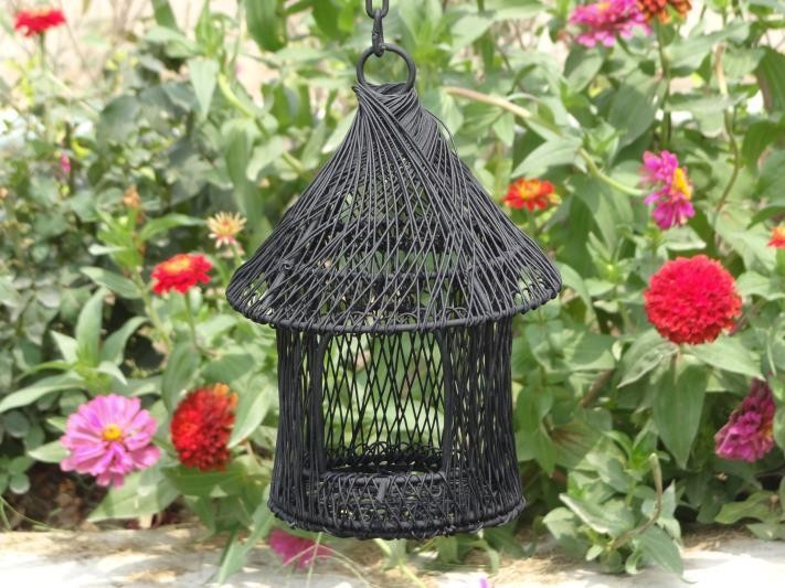 Black Wire Metal Decorative Bird House