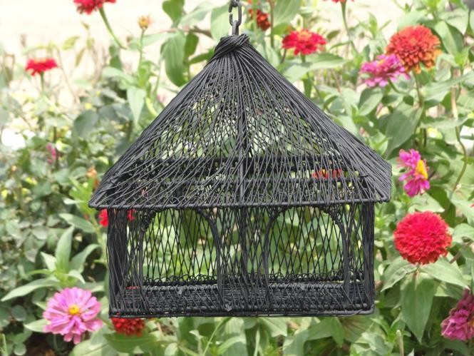 Black Decorative Double Window Metal Bird House