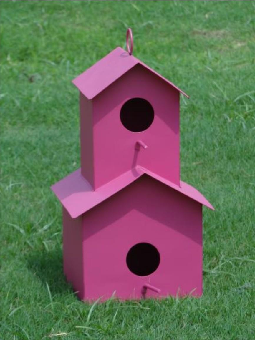 Double Decker Pink Metal Bird House
