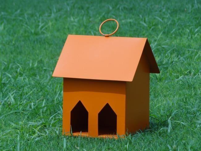Orange Decorative Window Metal Bird House