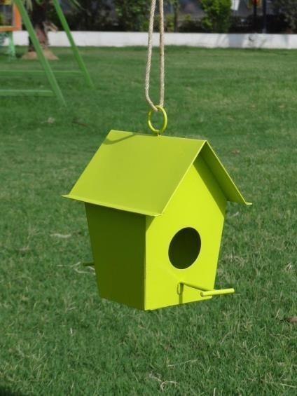 Parrot Green Hanging  Metal Bird House