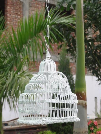 White Decorative Wire  Metal Bird House