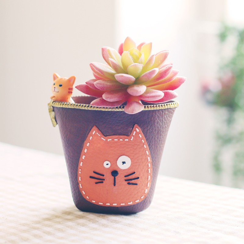 Dark Brown Cat Face Pattern Ceramic Planter