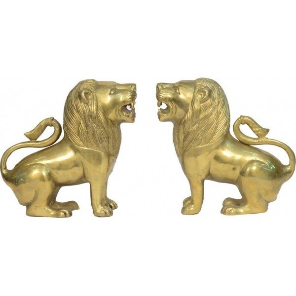 Decorative Brass Lion Pair